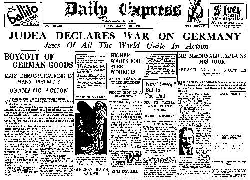 New York Times - les juifs déclarent la guerre à l'Allemagne